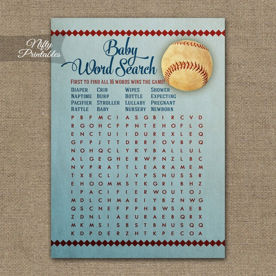 word search baby shower game baseball baby shower baseball word