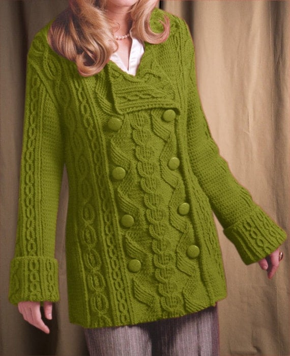 Knitting Women S Work : Hand knit women s coat aran jacket