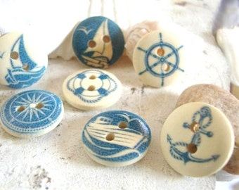 7 Nautical Buttons,beach buttons,ocean sea buttons,craft buttons