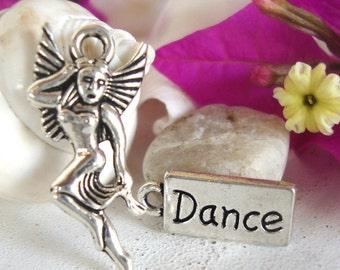 Butterfly Dance Charm,Girl Butterfly charm,dance word charm