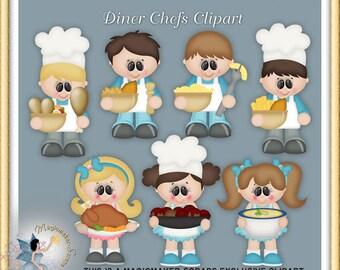 Diner Chef Clipart, Restaurant, Digital Scrapbook