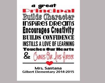 Principal Print, Principal Appreciation Gift, Personalized Principal Thank You Gift, Principal Christmas Gift, PDF Digital Print