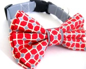 Dog collar with bow tie Dog bow tie collar Red and gray collar and bow tie