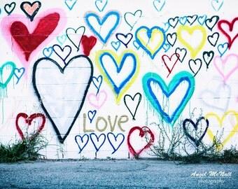 Love wall art, kids room, urban decor, street photography, graffiti, colorful, dorm, heart decor, Los Angeles,  fine art photography print