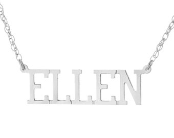 925 Sterling Silver Personalized Custom Made Any Nameplate Pendant Necklace - Ellen Style