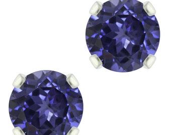 925 Sterling Silver Natural 6mm  Diamond Cut Iolite Gemstones Stud Earrings