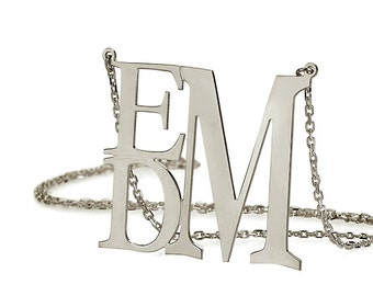 Oxidized 925 Sterling Silver Personalized 3 Initials Square Monogram Necklace - Monogram Necklace - Nameplate Necklace
