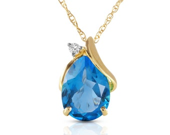 2.53 Ct 14k Solid Gold  Diamond and Blue Topaz Necklace / December Birthstone / Gemstone Necklace (Yellow Gold, White Gold, Rose Gold)