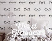 Cool Nerdy Glasses Pattern Wall Decal