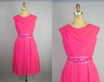 50s Hot Pink Chiffon Dress / Vintage 50s Party Dress