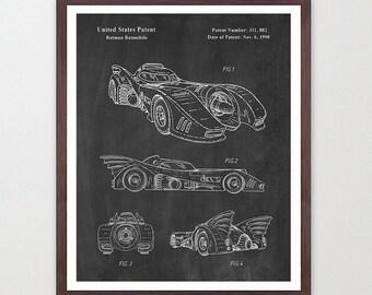 Batman Patent Print - Batmobile Wall Art Poster - Patent Art - Batman Patent Art - Batmobile Patent - Bat Mobile - Batmobile Poster - Bat