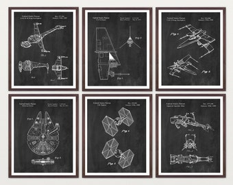 Star Wars Patent Super Set - Star Wars SpaceCraft  B Wing  X Wing Millenium Falcon TIE Fighter Star Wars Art - Star Wars Poster - Sci Fi