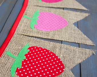 Strawberry  First Birthday Party Decorations, Red Pink Berry Picnic, Nursery, Baby Shower, Backyard BBQ, Burlap Bunting Banner Photo Prop
