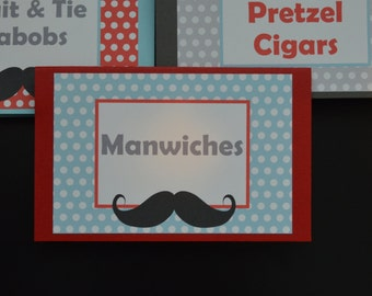 Mustache Table Tent Food Label Place Cards - Mustache Bash Food Tent - Mustache Birthday - Little Man Food Tents - Manwiches - Set of 6