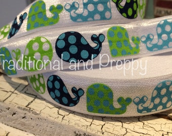 """7/8"""" Preppy NAVY and Lime Nautical Whale Polka Dot  FOE Fold Over Elastic Ribbon sold by the yard"""