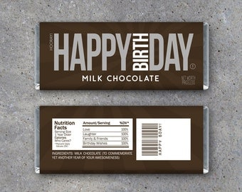 HAPPY BIRTHDAY Candy Bar Wrappers – Printable Instant Download – Happy Birthday Hershey's Candy Bar Wrappers – Use as a gift or gift tag!