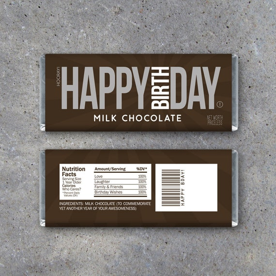 Happy birthday candy bar wrappers printable instant for Personalized chocolate wrappers template