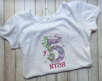 Fairy birthday shirt OR bodysuit. Custom appliquéd & embroidered. By Sixpence Crafts