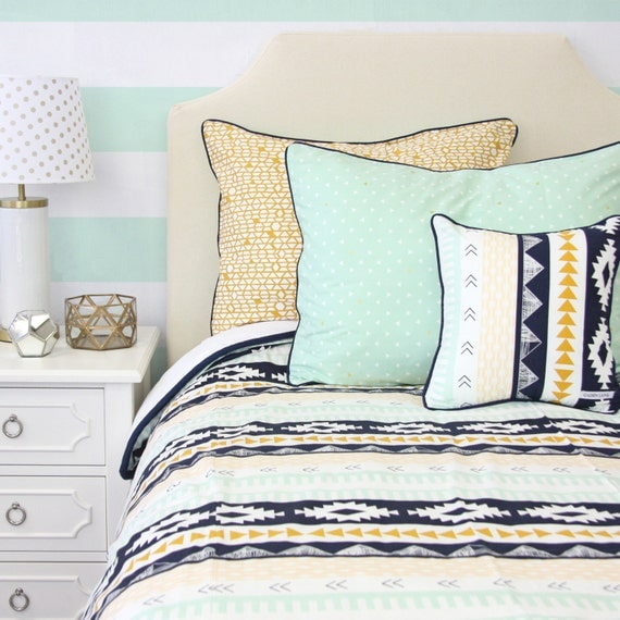 Aztec Gold And Mint Big Kid Twin Full Queen Bedding