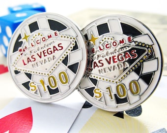Las Vegas Chip Cufflinks Silver Toned Black and Red Enamel Lucky Charm Poker Chip Fun Cuff Links