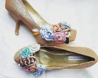 wedding shoes,quirky shoes, gold glitter bridal shoes, the bride,wedding, bride shoes, bridesmaids shoes, shabby chic, Marie Antoinette