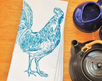 Dinner Napkins - Screen Printed Teal Rooster - Cotton