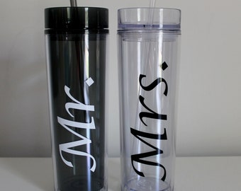 Mr. and Mrs. Cup, Mr and Mrs Skinny Tumbler, Bride and Groom, Wedding Cups Set