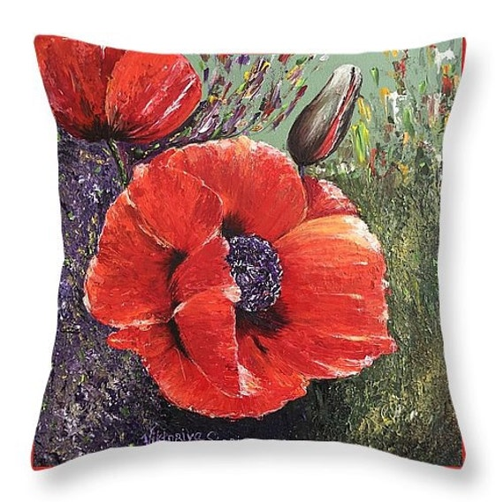 Items similar to Art Throw Pillow red poppy couch sofa throw pillow home accsent decorative ...