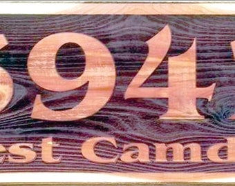 """Your address Laser engraved on eastern Red Cedar Heartwood. 8"""" x 24"""" x .75"""" thick"""