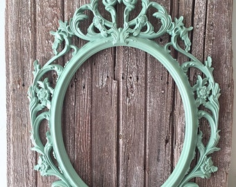 Oval Nursery Frame, Baroque Picture Frame, Shabby Chic Ornate Frame, Large Wall Hanging Decor, Light Green Open Frame