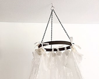 Hanging Bed Canopy Princess Girls Bedroom Nursery Crib Tent Ornate Lace Burlap Shabby Chic