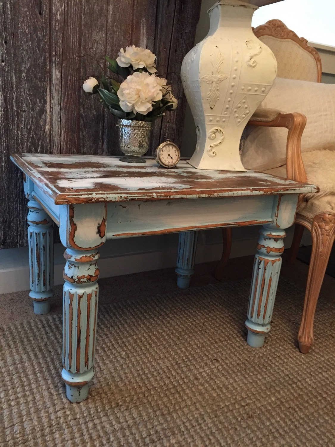 Blue End Tables Living Room Furniture Painted