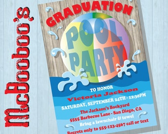 Rustic Graduation Pool Party Invitations with Beach Ball