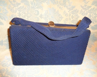 1940's handbag  FREE SHIPPING in the USA pocketbook purse  navy blue pleated  silk gold hardware