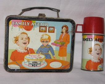 one vintage 1969 thermos king-seeley family affair metal lunchbox and thermos