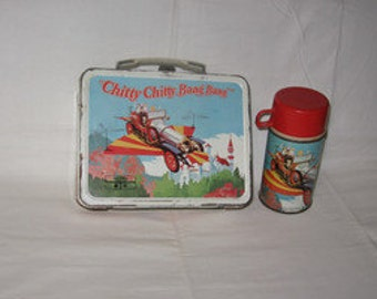 vintage 1968 thermos chitty chitty bang bang metal lunchbox and thermos