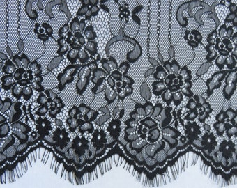 Chantilly lace fabric sold by yard,wedding Lace trim, 64cm Eyelash lace for lace dress-6592