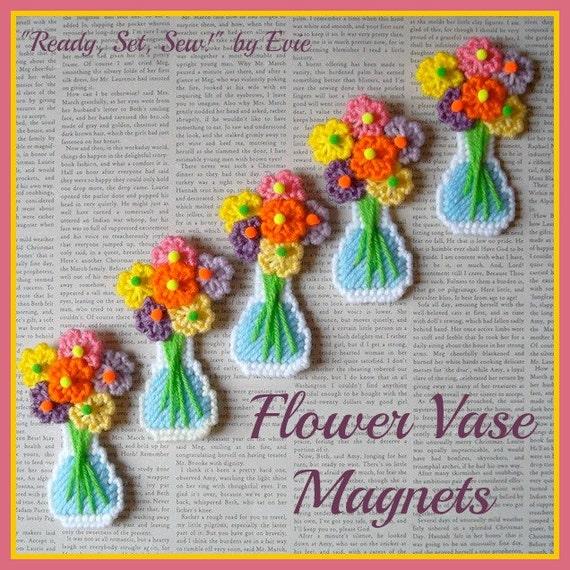 Reserved For Sandy Plastic Canvas Flower Vase Magnets Set