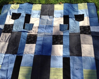"""Blanket Throw made from Upcycled Denim and T-shirt with Jean Pockets Size: 59"""" wide x 51"""" long"""