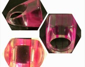 Vintage Mod Lucite Pink Striped Cocktail Ring; Size 7.25