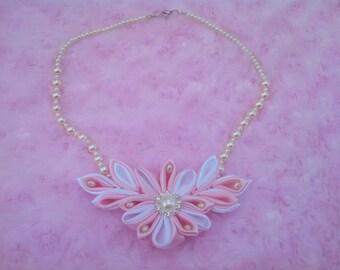 Beautiful Kanzashi flower necklace