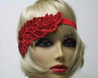 1920s Headband, Gatsby Headband, Flapper Headband, Flapper Headpiece, Great Gatsby, Sequin Headband, Beaded Art Deco, 1920s Hair Accessory