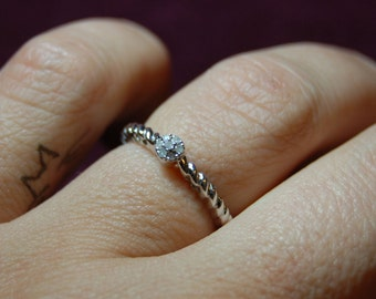 Vintage Victorian Edwardian Diamond 925 Sterling Twisted I Love You  Anniversary Wedding Engagement Ring #BKC-RNG115