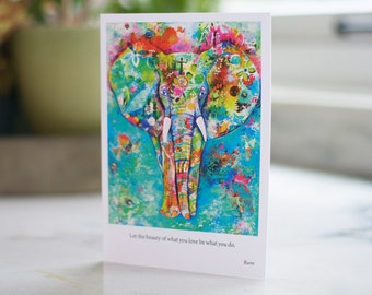 Elephant Card. Rumi Quote. Rumi Card. Anytime Card. Abstract Elephant.