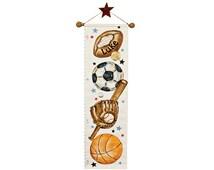 Canvas growth chart - sports theme - football, soccer, basketball, baseball -nursery decor -unique personalized birthday gift- 1st birthday