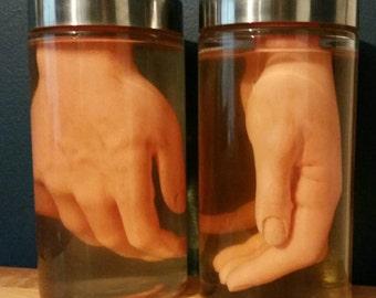 Hand in jar prop, macabre sideshow gaff oddity