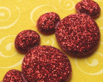 6 red glitter padded Mickey Mouse appliques - bow centers