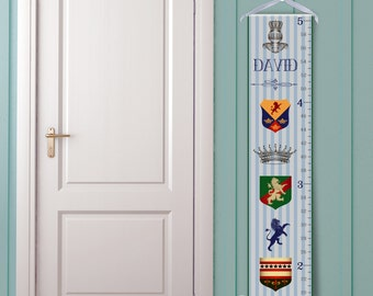 "Personalized Growth Chart ""Medieval Crests in Blue"""