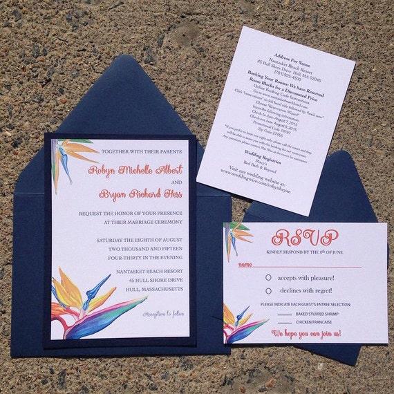 Birds Of Paradise Wedding Invitation Floral Invitation
