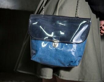 Handbag satchel in flexible plexis jean/black/khaki